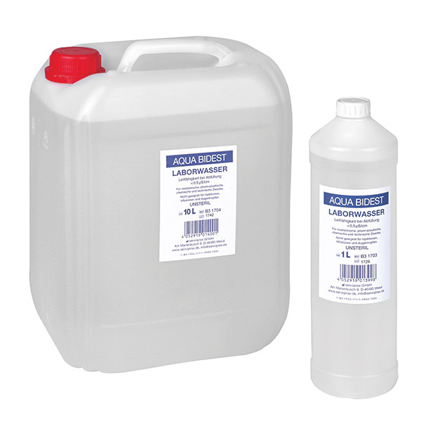Aqua Bidest-Laborwasser, 1 Liter, Schwerlastartikel (eingepreist, daher ab 300.-- Bestellsumme versandkostenfrei)