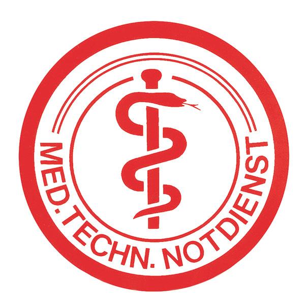 """Folienschild """"Med.-techn.-Notdienst"""""""