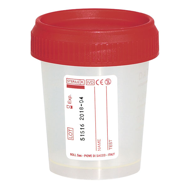 Urinbecher, Uringefäss, 60 ml, weiss, 500 Stück, unsteril